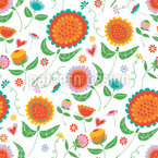 Dancing Spring Flowers Seamless Vector Pattern Design