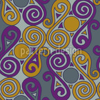 Cucuteni Spirals Grey Seamless Vector Pattern