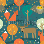 Forest Animals Seamless Vector Pattern Design