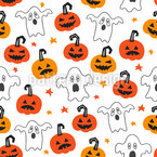 Scary Pumpkins And Ghosts Seamless Vector Pattern Design