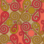 Cucuteni Spirals Orange Seamless Vector Pattern Design