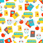 School Elements And Fruits Pattern Design