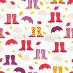 Gumboots And Umbrellas Pattern Design