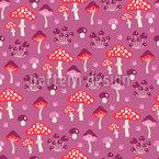 Cogumelos Na Floresta Design de padrão vetorial sem costura
