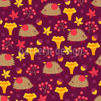 A Hedgehog On A Forest Trip Vector Pattern
