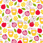 Honigäpfel Und Granatapfel Vektor Design