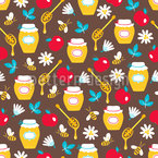 Honey Apples And Pomegranate Repeating Pattern