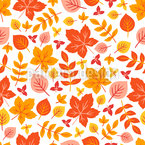 Autumnal Garden Foliage Seamless Vector Pattern Design