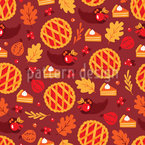 Pumpkin Cherry Cake Seamless Vector Pattern Design
