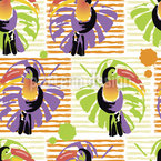 Toucans And Palm Leaves Vector Ornament