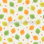 Berries And Autumn Leaves Seamless Vector Pattern Design