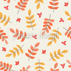 Autumnal Rowanberry Leaves Seamless Vector Pattern Design