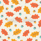 Autumnal Leaves In Cool Breeze Seamless Vector Pattern Design