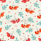 Leaves And Rowan Berries Pattern Design