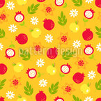 Pomegranate And Apple Seamless Vector Pattern