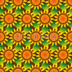 Field Of Sunflowers Seamless Vector Pattern Design