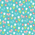 Tulips Easter Eggs And Bows Vector Design