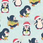 Penguins In Winter Uniform Seamless Vector Pattern
