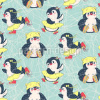 Fröhliche Eislaufende Pinguine Vektor Muster