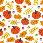 Pumpkin And Leaves Repeating Pattern