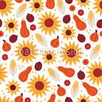 Sonnenblumen-Kürbis Nahtloses Vektormuster