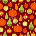 Pumpkins And Autumn Leaves Seamless Vector Pattern Design