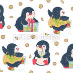 Happy Winter Penguins Motif Vectoriel Sans Couture