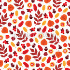 Autumnal Harvest With Flowers Seamless Vector Pattern Design
