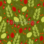 Autumnal Leaves And Berries Repeating Pattern
