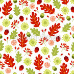 Autumnal Flowers With Leaves Pattern Design