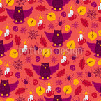 Halloween Owl Seamless Pattern