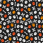 Halloween Scull And Bones Seamless Vector Pattern Design
