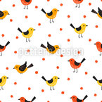 Cute Birds And Berries Repeat Pattern