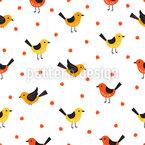 Süße Vögel und Beeren Nahtloses Vektormuster