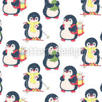 Penguins Love Winter Seamless Vector Pattern Design