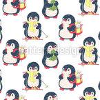 Pinguine Lieben Winter Nahtloses Vektormuster