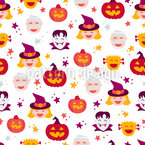 Halloween Faces Seamless Vector Pattern