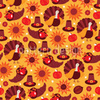 Pumpkin Hat Turkey Seamless Vector Pattern Design