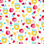 Pomegranate And Honey Seamless Vector Pattern Design