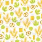 Wheat Leaves And Pretzel Seamless Vector Pattern Design
