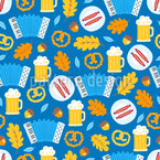 Salsicha Oktoberfest Design de padrão vetorial sem costura
