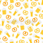 Beer And Pretzels Seamless Vector Pattern Design