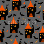 Halloween Castle And Bats Repeating Pattern