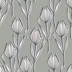 Monotone Tulip Seamless Vector Pattern Design