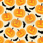 Pumpkins And Bats Seamless Vector Pattern