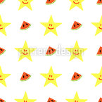 Happy Watermelon And Stars Repeating Pattern