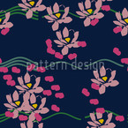 Lotus Love Blue Seamless Vector Pattern Design