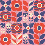 Horário de floração escandinava Design de padrão vetorial sem costura