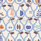 Pears And Many Leaves Pattern Design