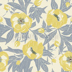Sunny Peonies Seamless Vector Pattern Design